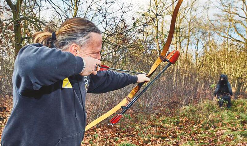 Ein Bogenschütze zielt auf ein Ziel